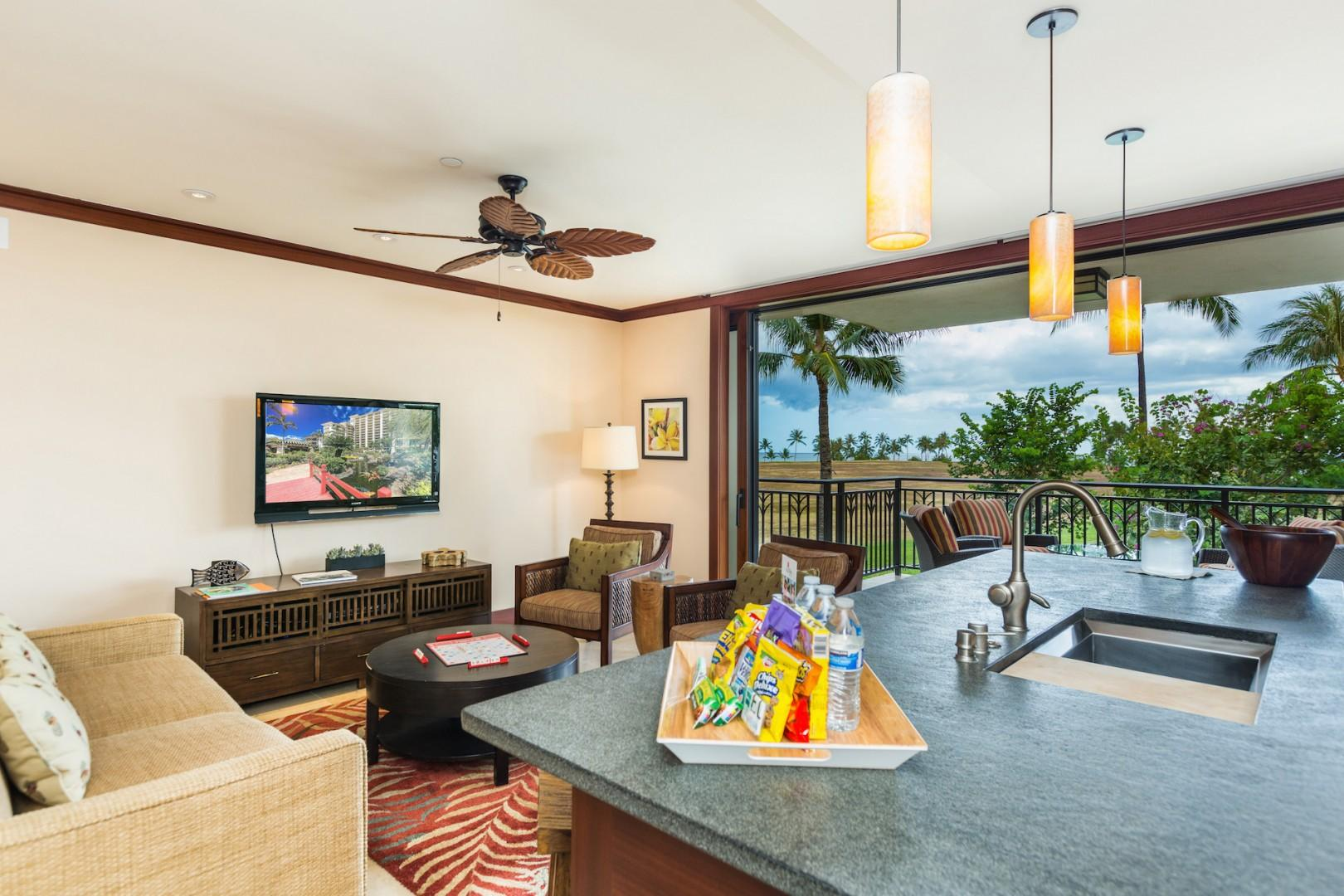Beautiful garden and ocean views from the kitchen, living and dining areas.