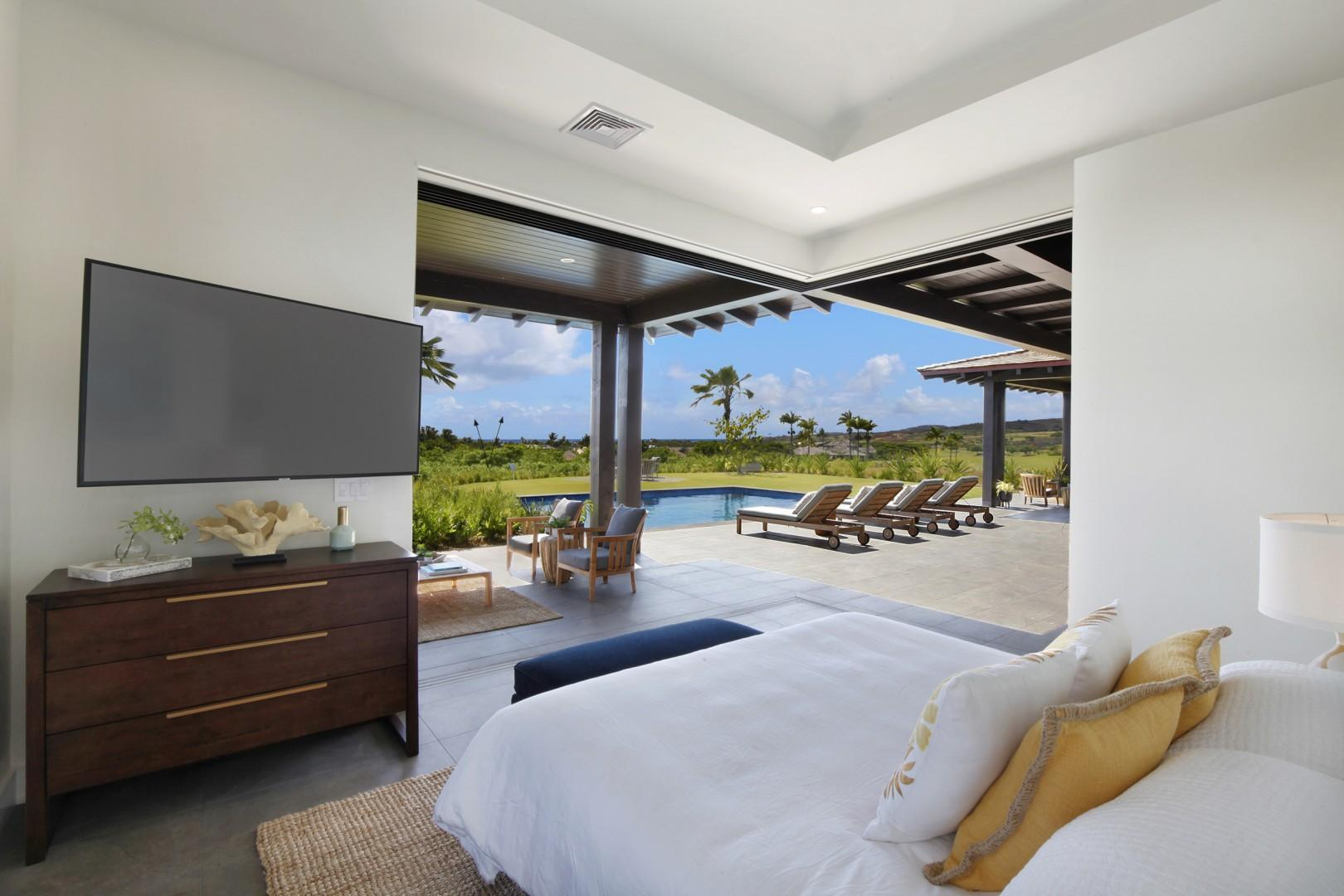 Master bedroom with pool and ocean views