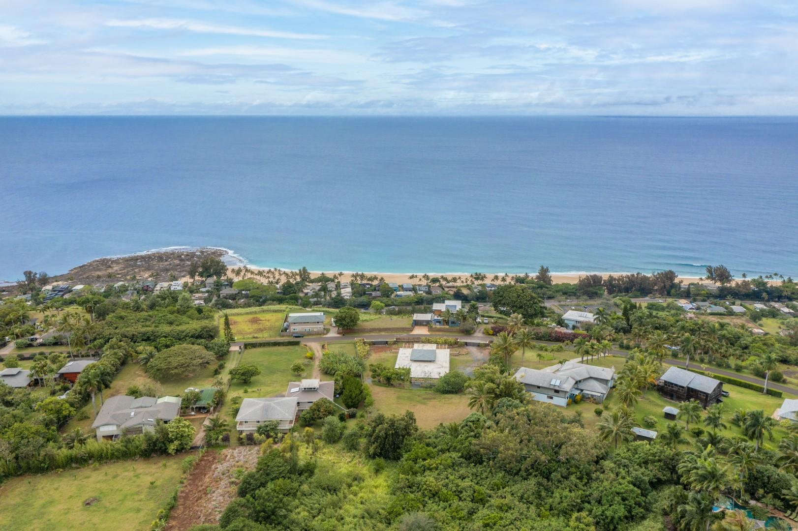 Hale Mahina is located on a half acre of land, in a private neighborhood, about 5 minutes drive from the ocean.