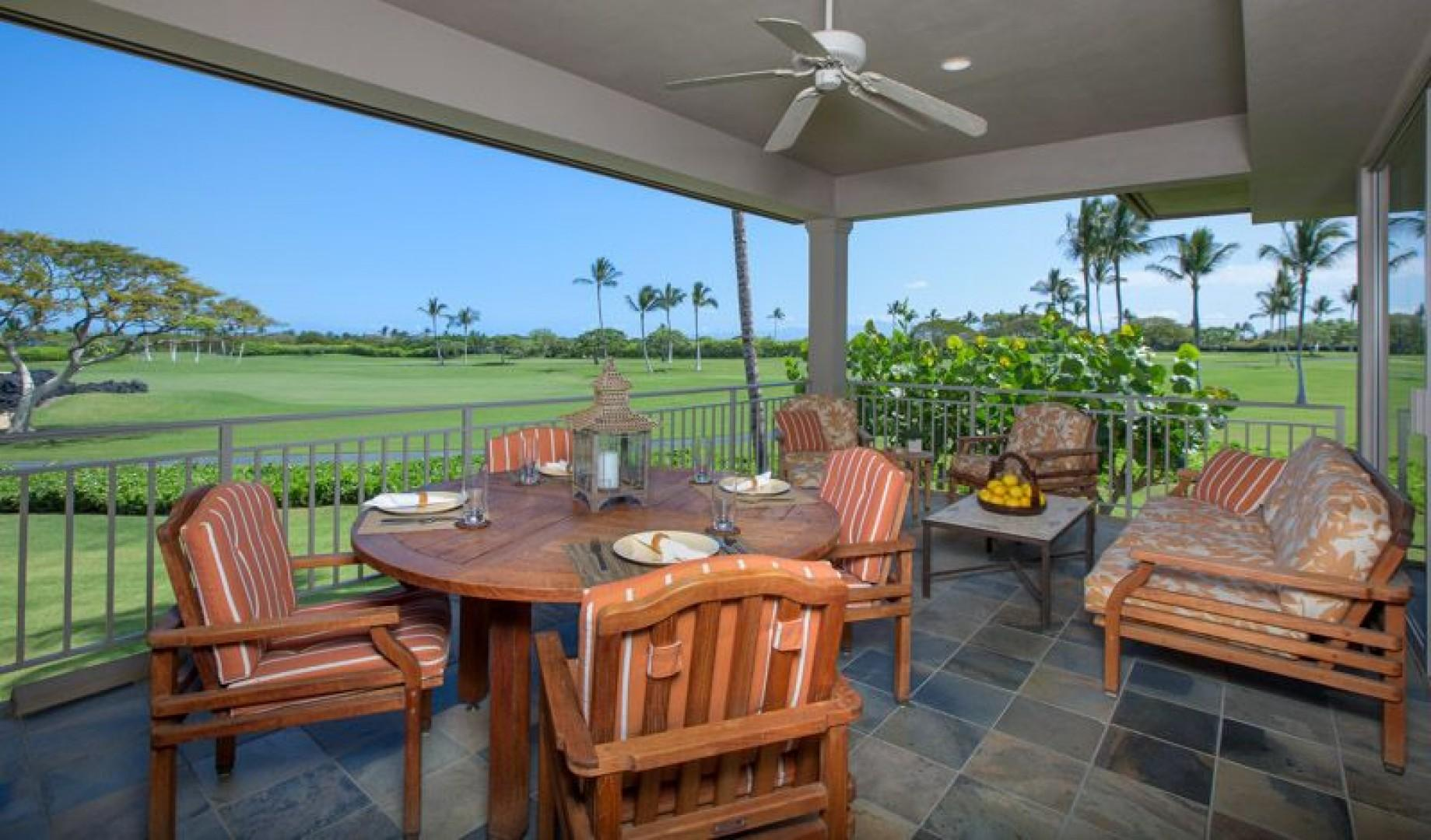 Lanai with abundant seating to enjoy with your extended family and friends.