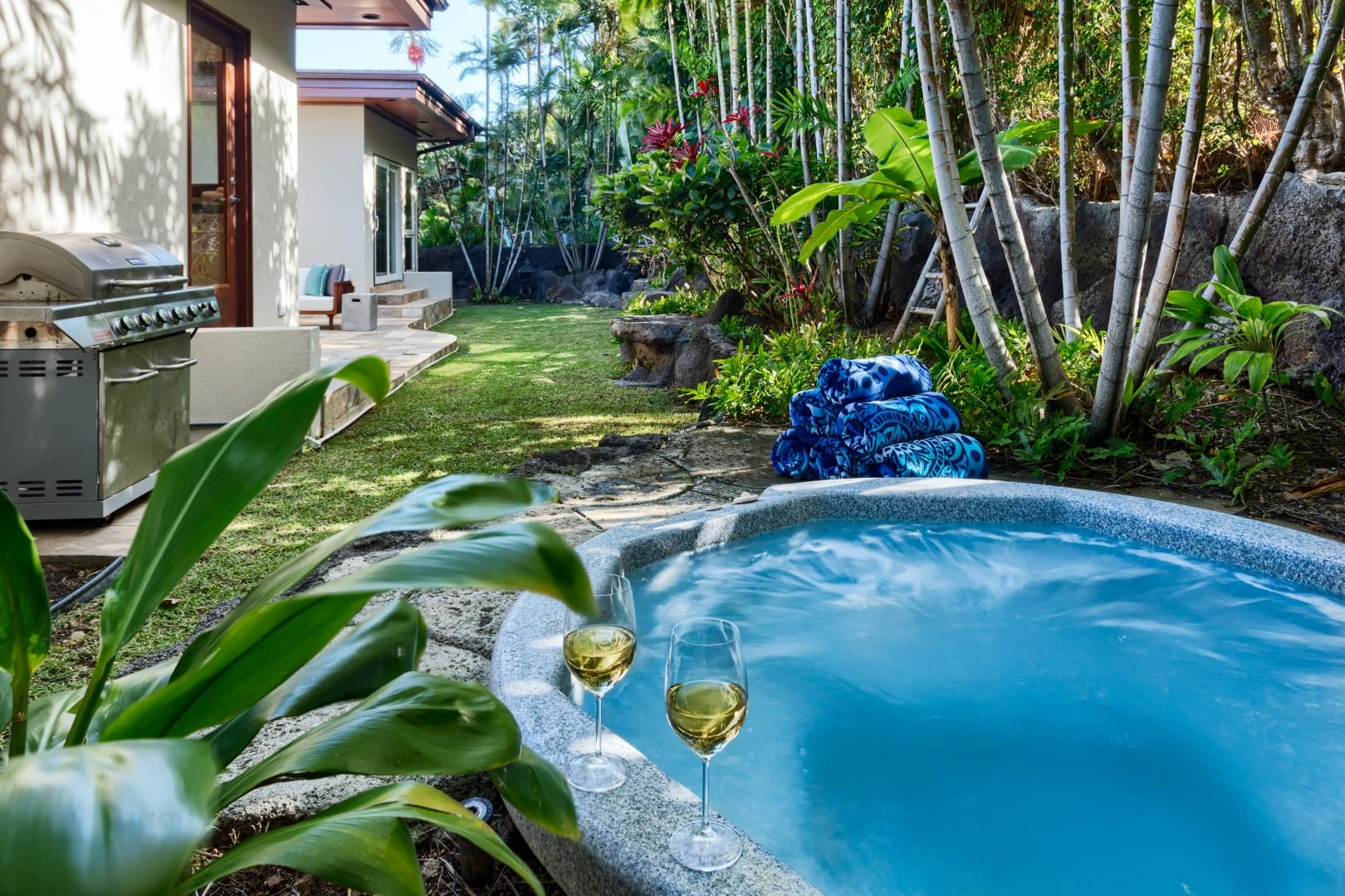 Relax in your private jacuzzi with a nice glass of wine, then  jump in the ocean to cool off!