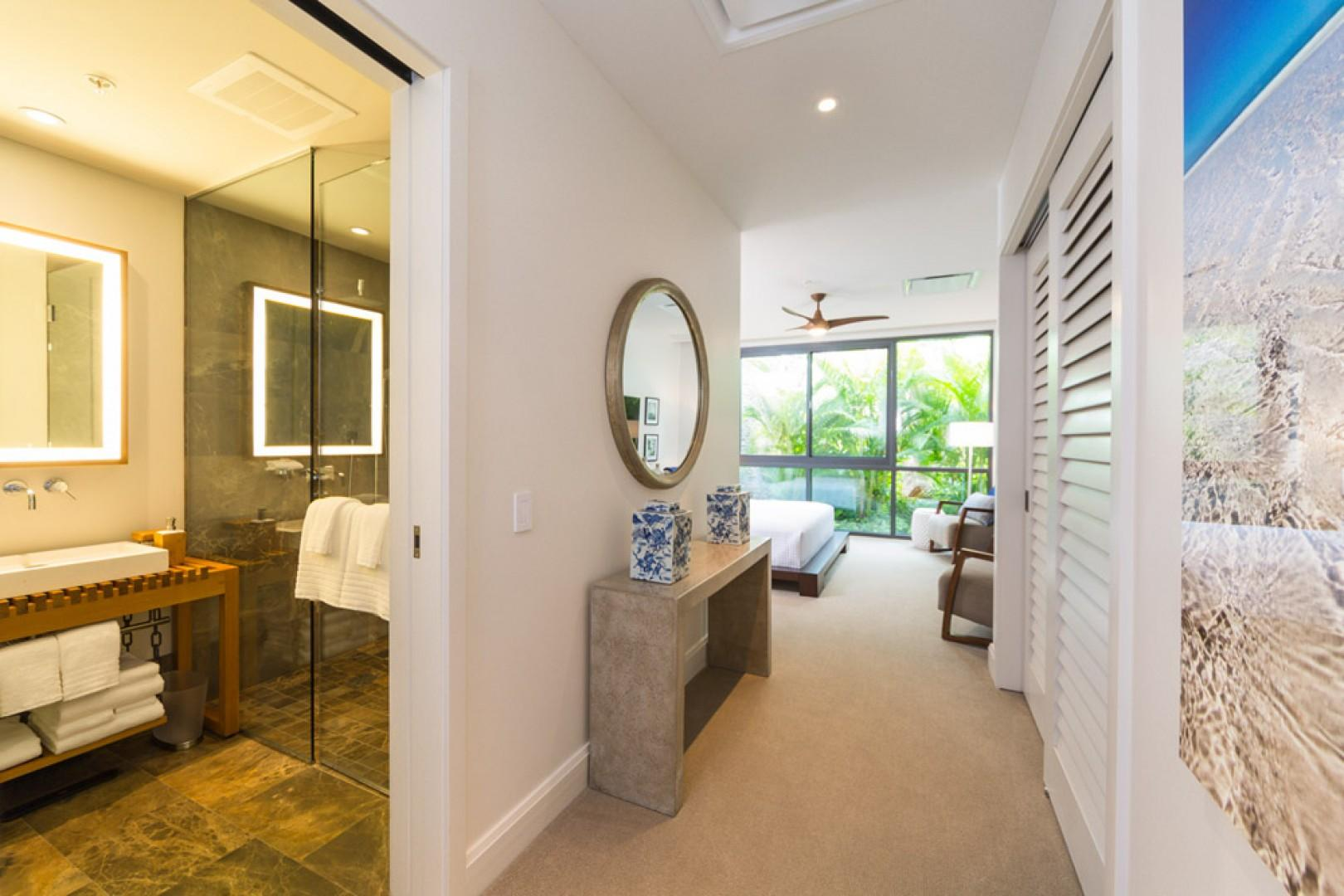 SeaGlass Villa 810 at Andaz Maui Wailea Resort - Entrance to the Second King Bedroom Suite with Original Art, Flat Panel HDTV with Netflix and En-Suite Private Bath