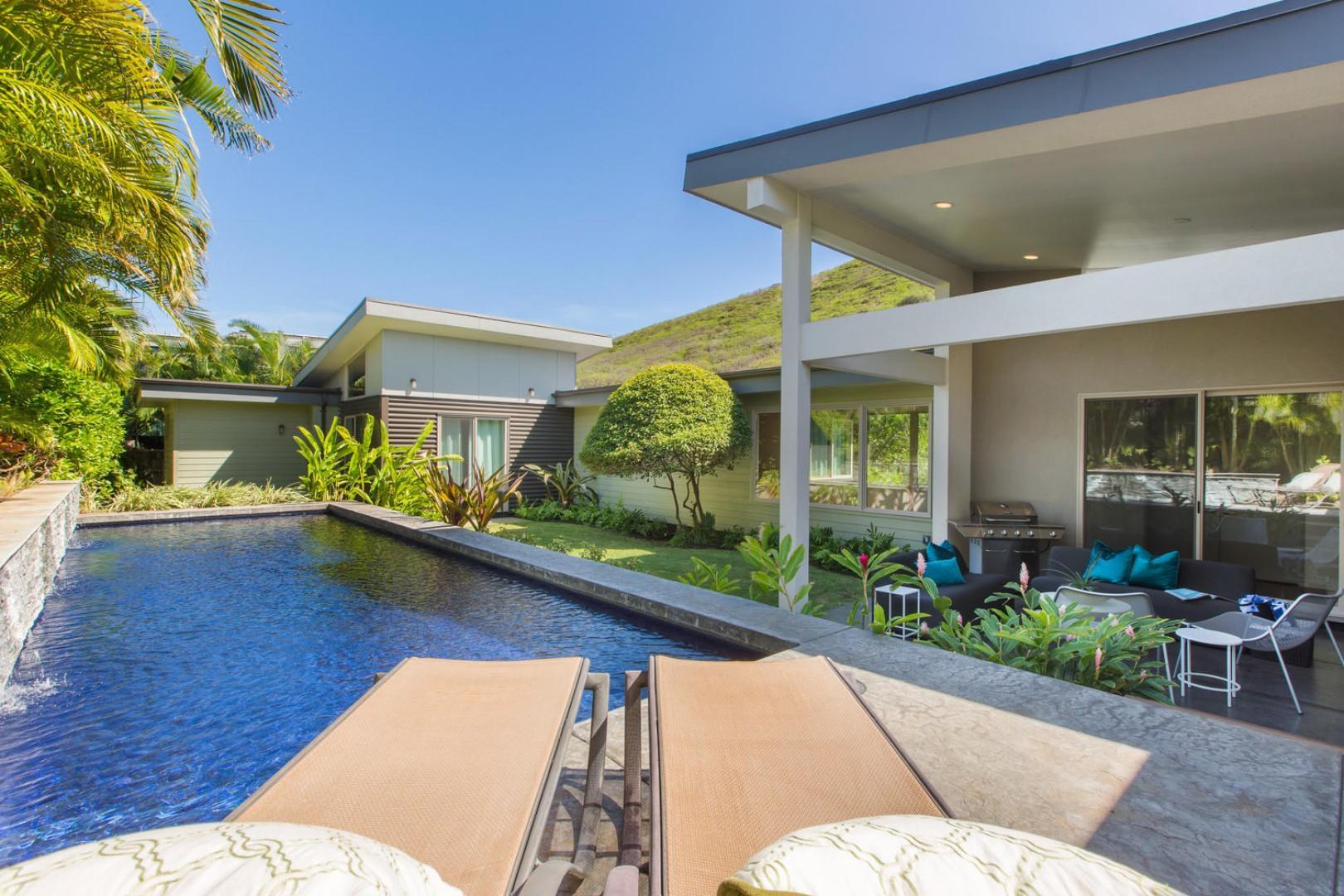 Backyard lap pool and covered lanai
