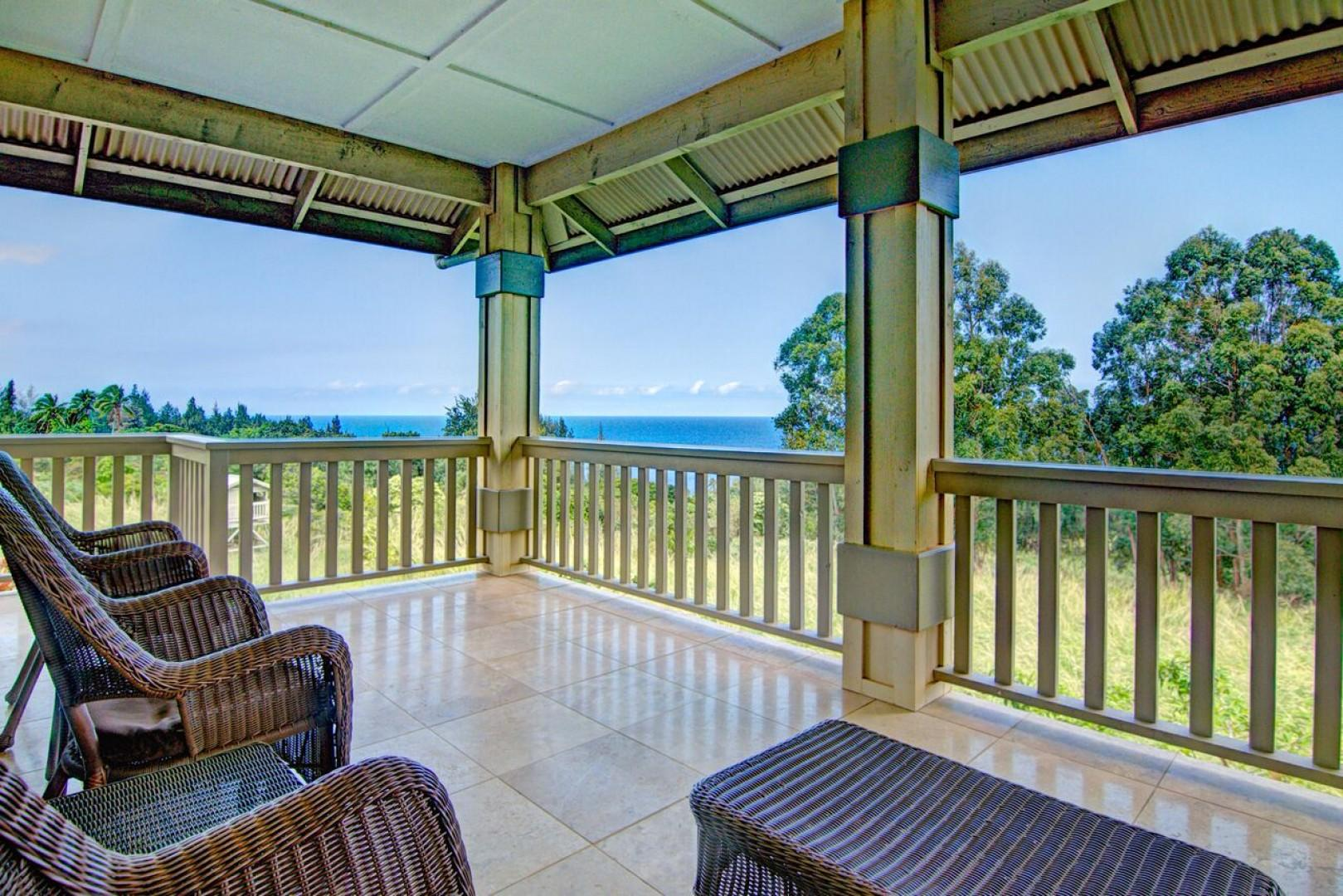 The back lanai is the perfect spot to sit and enjoy the ocean views!