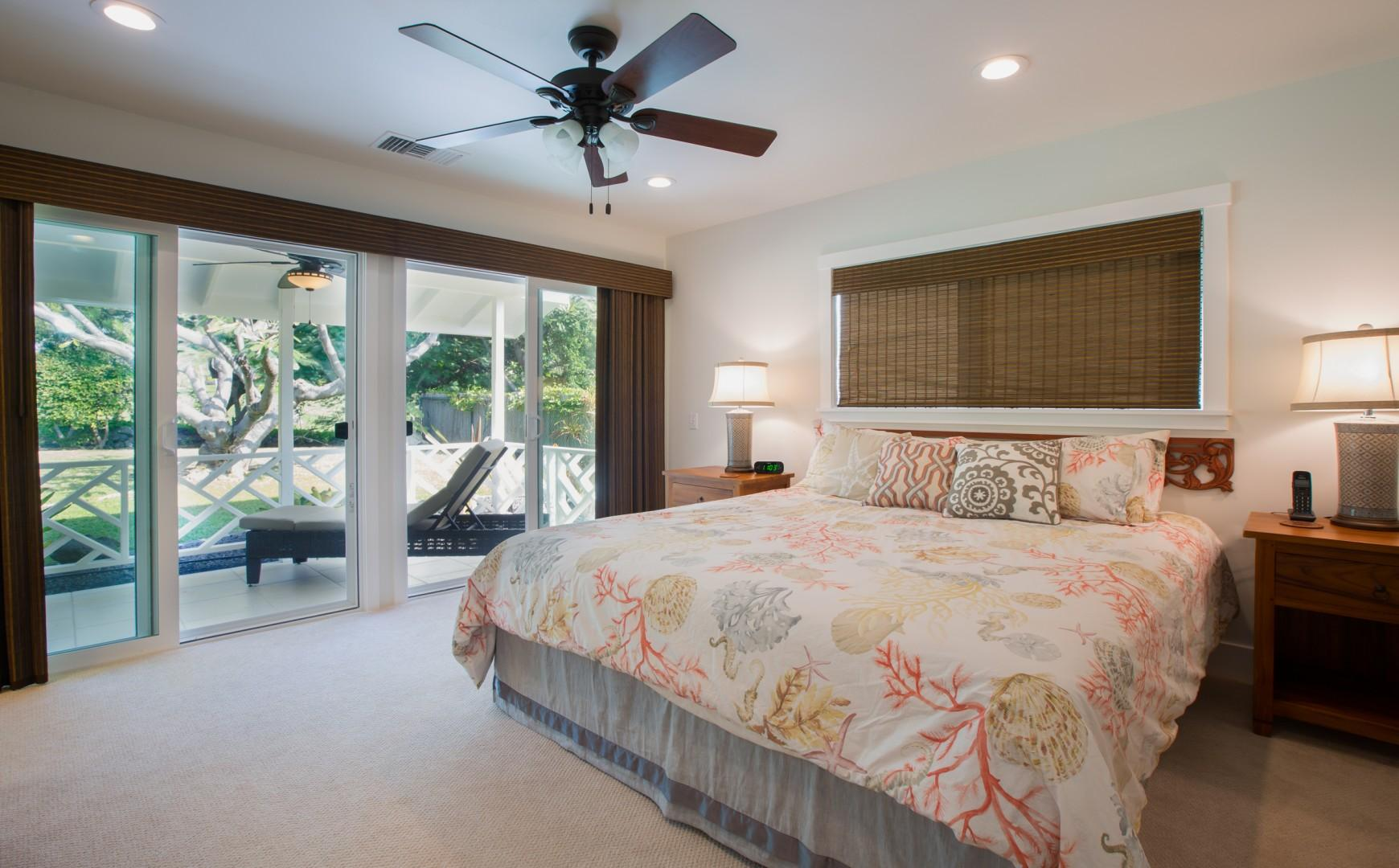 Master bedroom with lanai access.