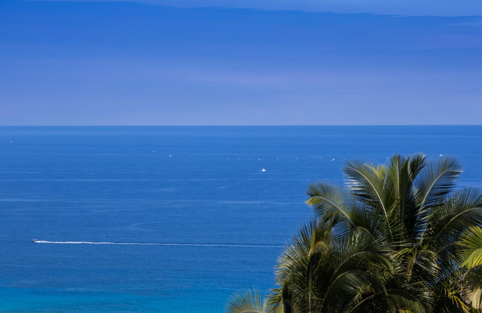 The blue waters of the Pacific.