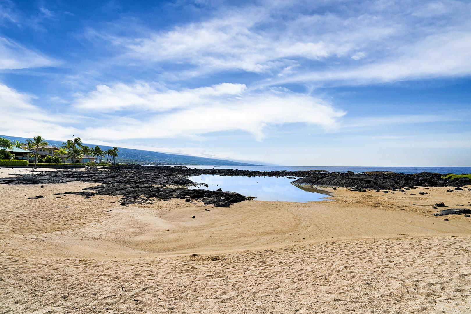 The famous Keiki Ponds beach is 5 minutes away on foot