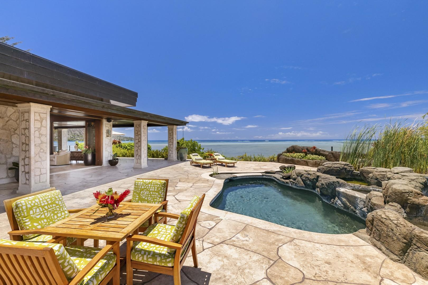 Small Dipping Pool with ocean views spacious surrounding deck
