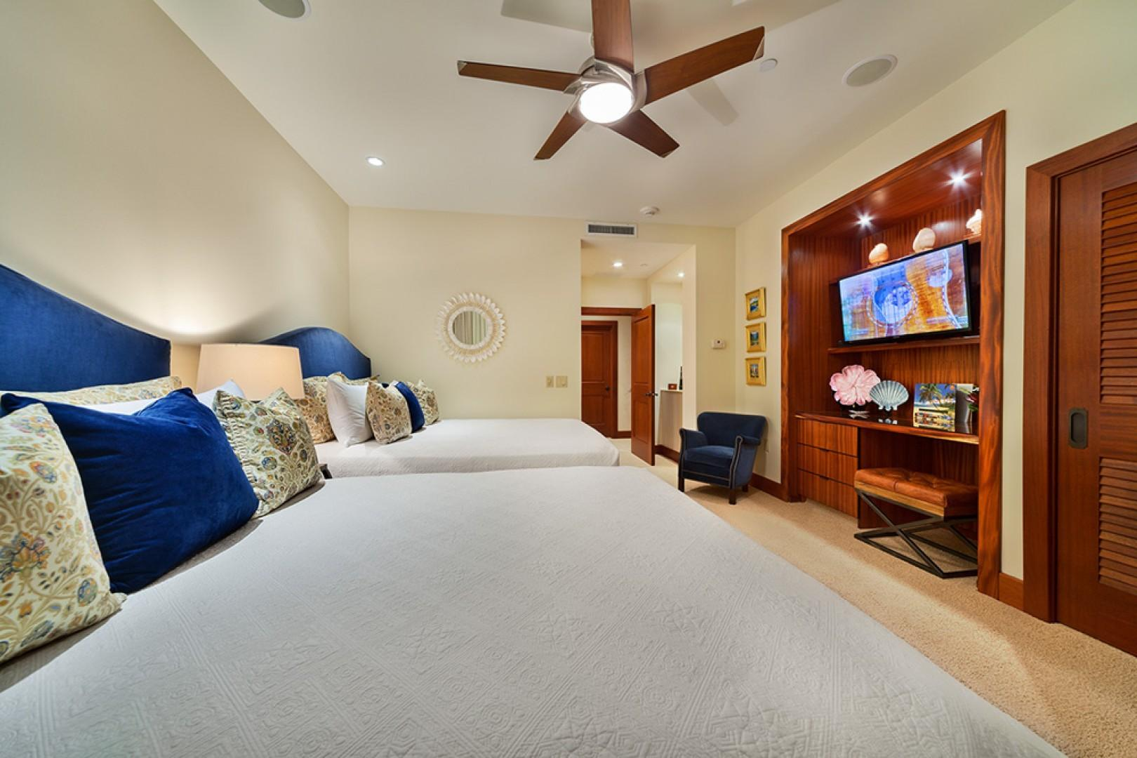A201 Royal Ilima - The Third Bedroom Suite with Two Queen Beds with Indigo Velvet Headboards, Samsung TV/DVD, Desk, Velvet and Leather Seating, Original Oils by Betty Hay Freeland Maui Artist, Outdoor Veranda and Direct Access to an Emergency Exit, and Pr