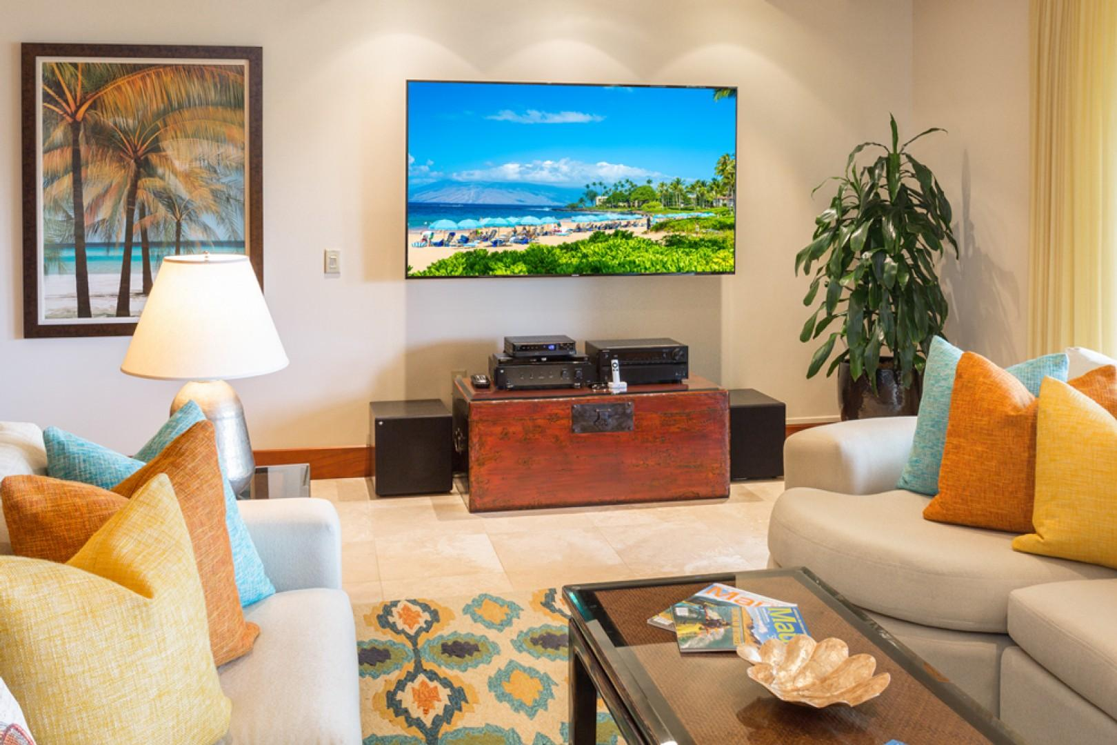 Castaway Cove C201 - Ocean View Great Room and Entertainment Center with HD TV, CD/DVD, iPod Dock, Large Flat Panel TV