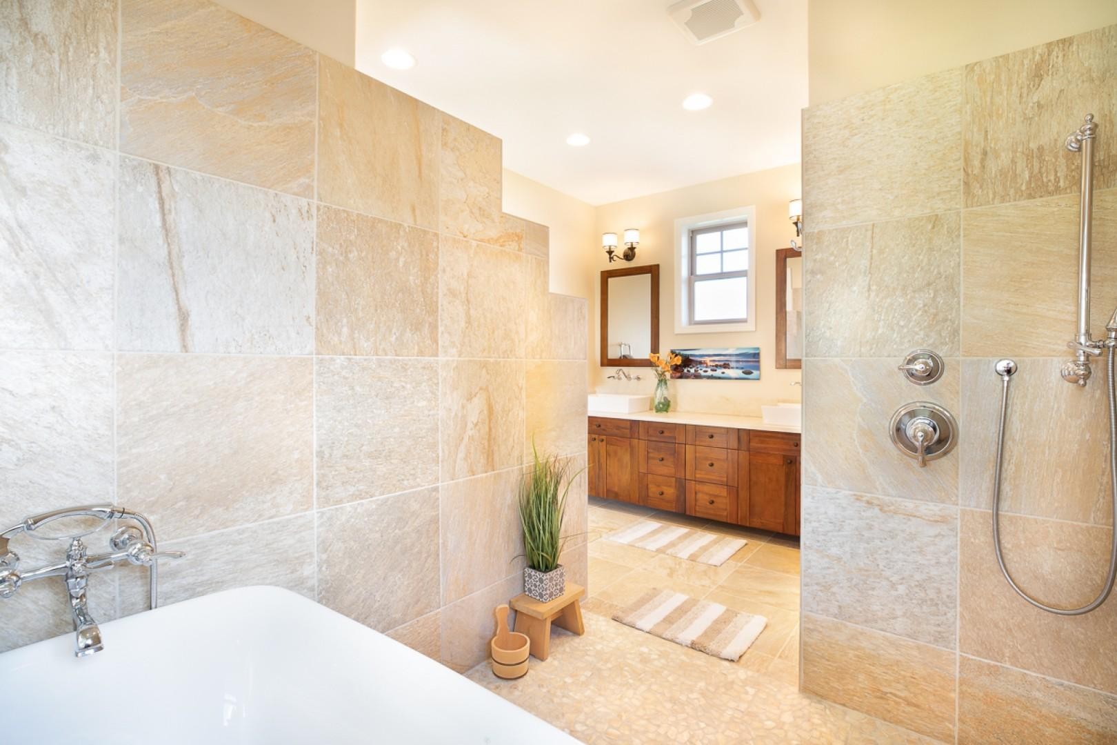 Master Ensuite with large walk in shower and elegant soaking tub