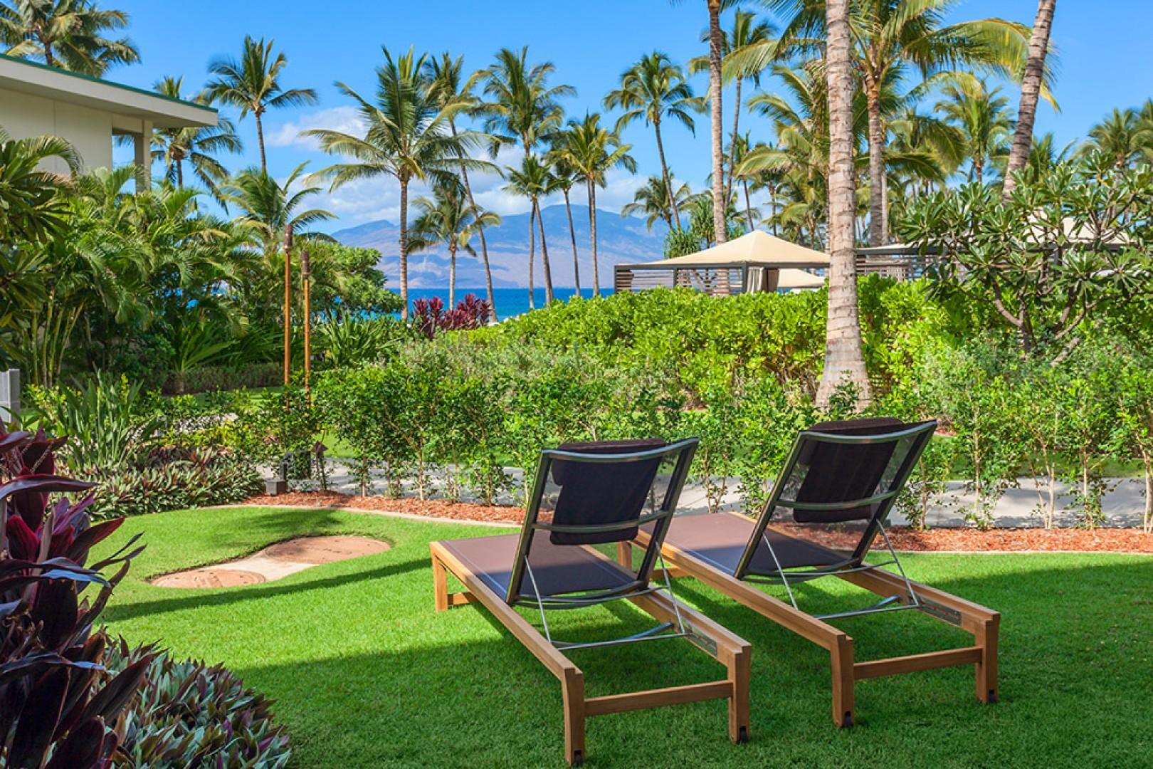 SeaGlass Villa 810 at Andaz Maui Wailea Resort - Your Own Private Paradise - A Covered Outdoor Patio with Lounge Seating, A Hot Soak Tub, Dining Area, BBQ, Garden and Lawn, Hammock and 4 Reclining Chaise Lounge Chairs
