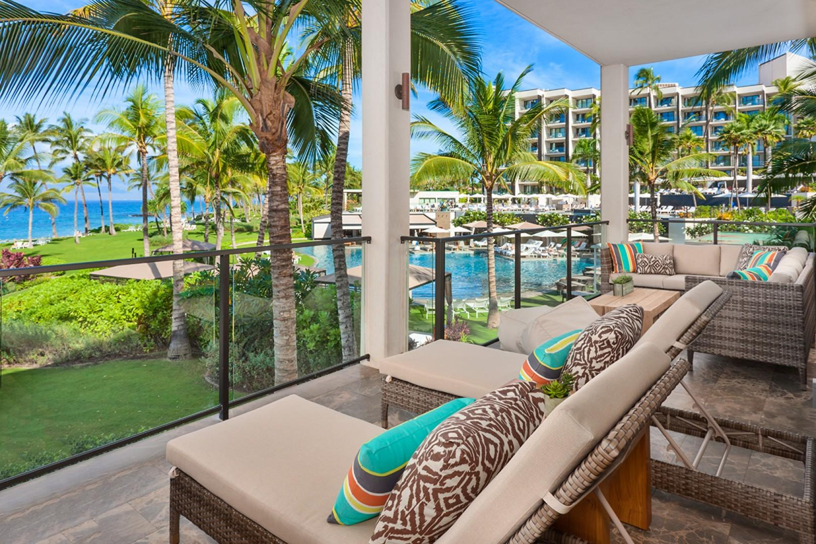 Your Own Private Paradise - A Covered Outdoor Patio with Ocean and Resort Pool Views, Comfortable Sectional Lounge Seating, Hot Tub, Dining For 8, BBQ and 2 Reclining Chaise Lounge Chairs