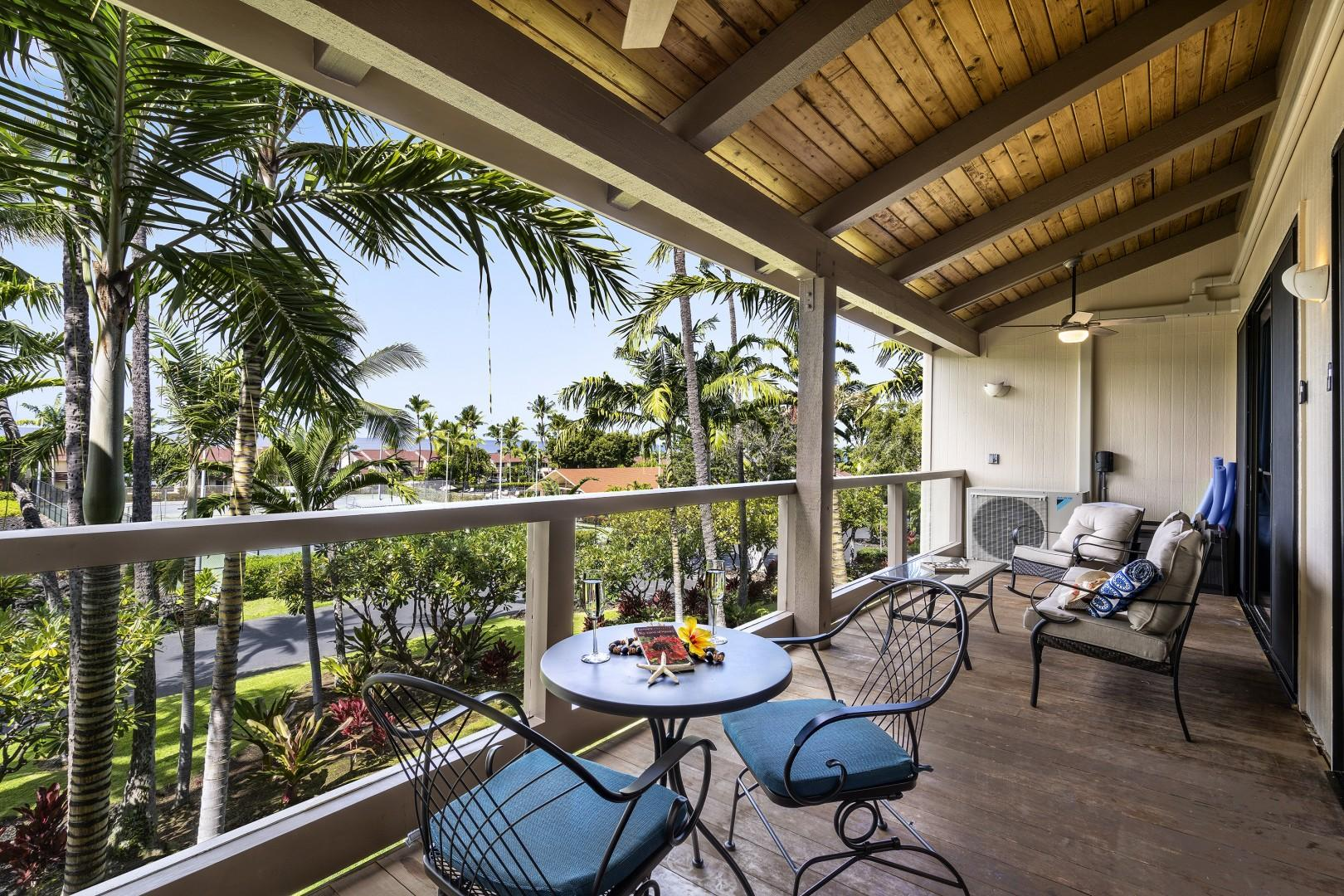 Surf & Racquet 9-303 offers a picturesque back drop from its spacious Lanai!