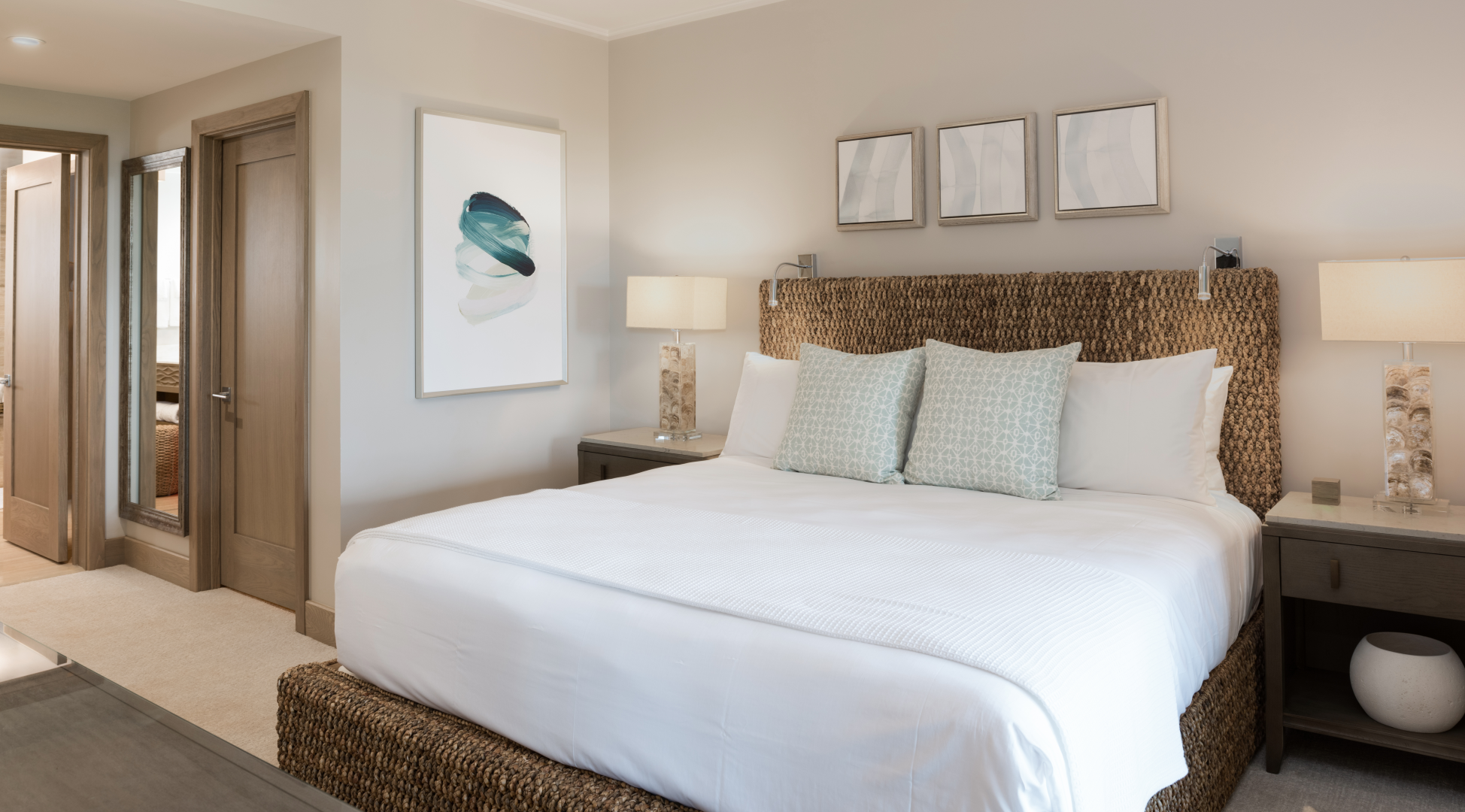 The second bedroom also comes equipped with an inviting king-size bed.
