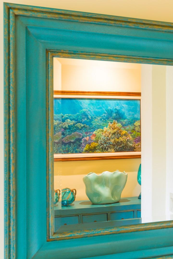 Original Artwork and Decor by Maui's most celebrated artists. This photo showcases an original oil painting in a new genre by Maui artist Betty Hay Freeland.