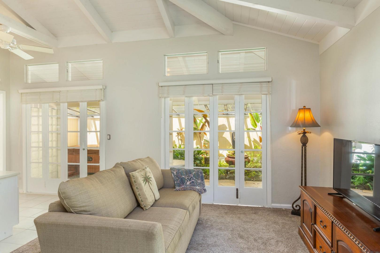 Enjoy lanai and garden access from the master suit