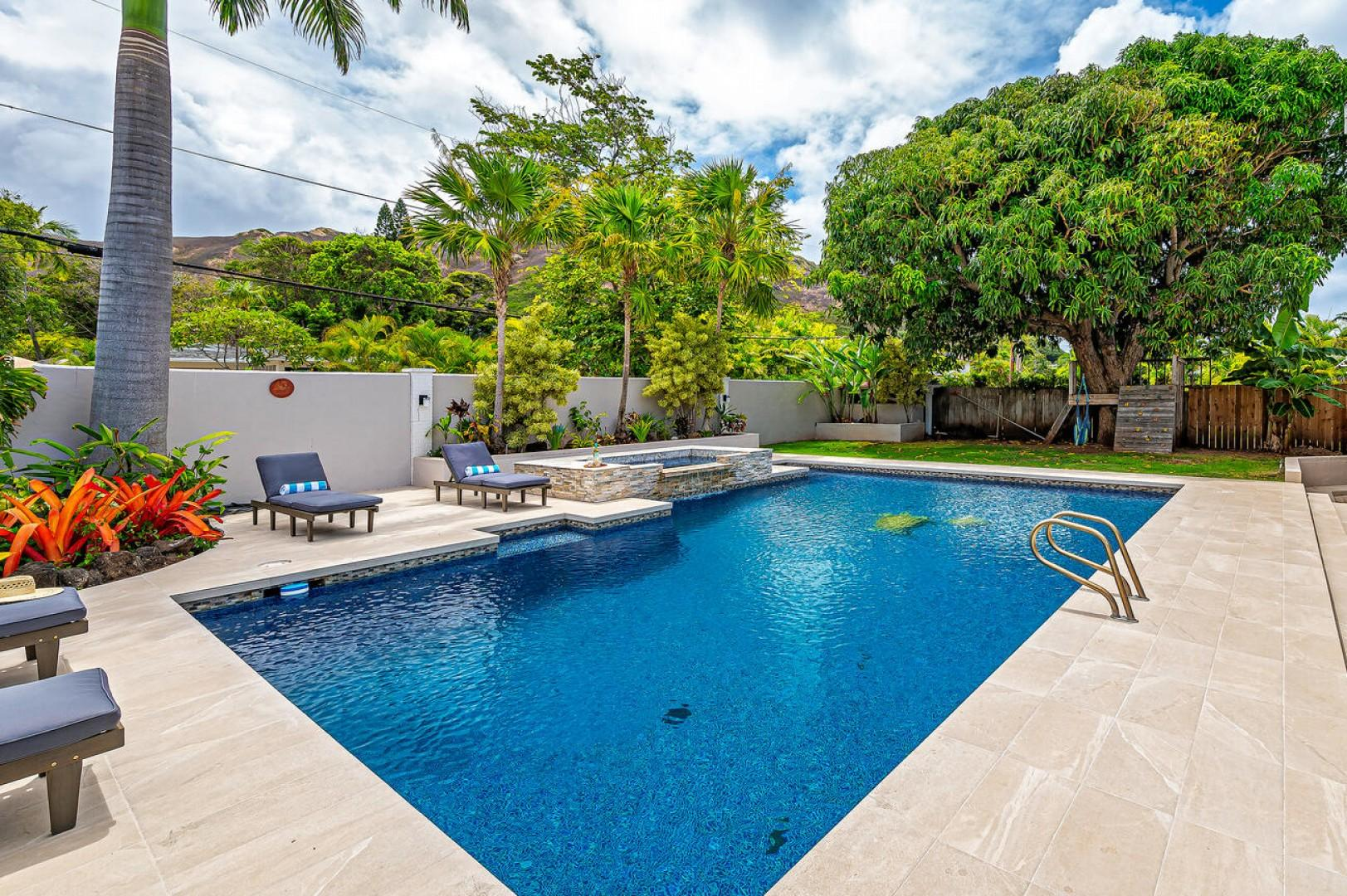Lush backyard with large pool deck and pool give you all the feels of having your own private mini hotel!  (Note: Upper pool area is apart of the pool and NOT a spa)