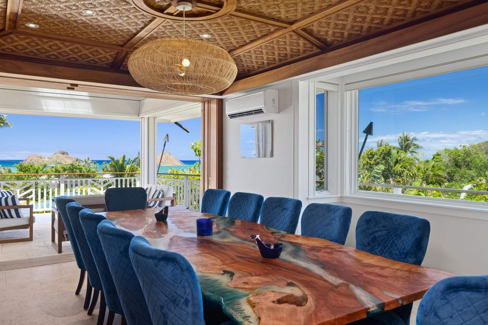 Formal dining with ocean view