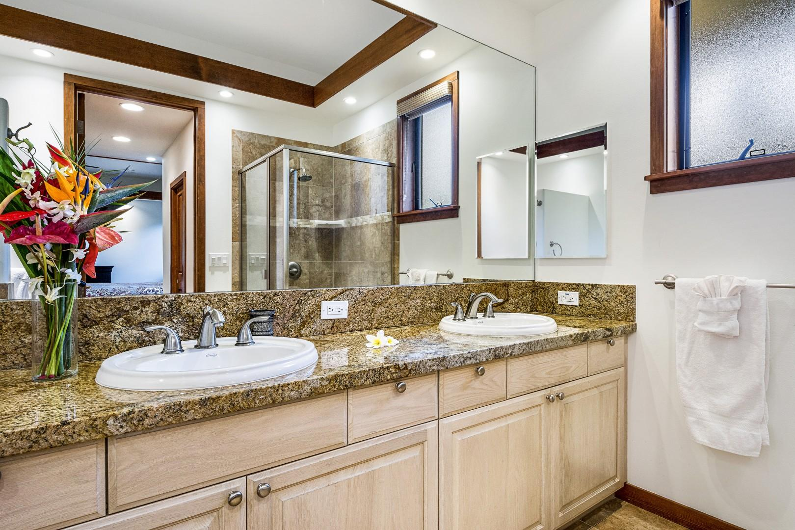 Dual sinks in the Master bathroom