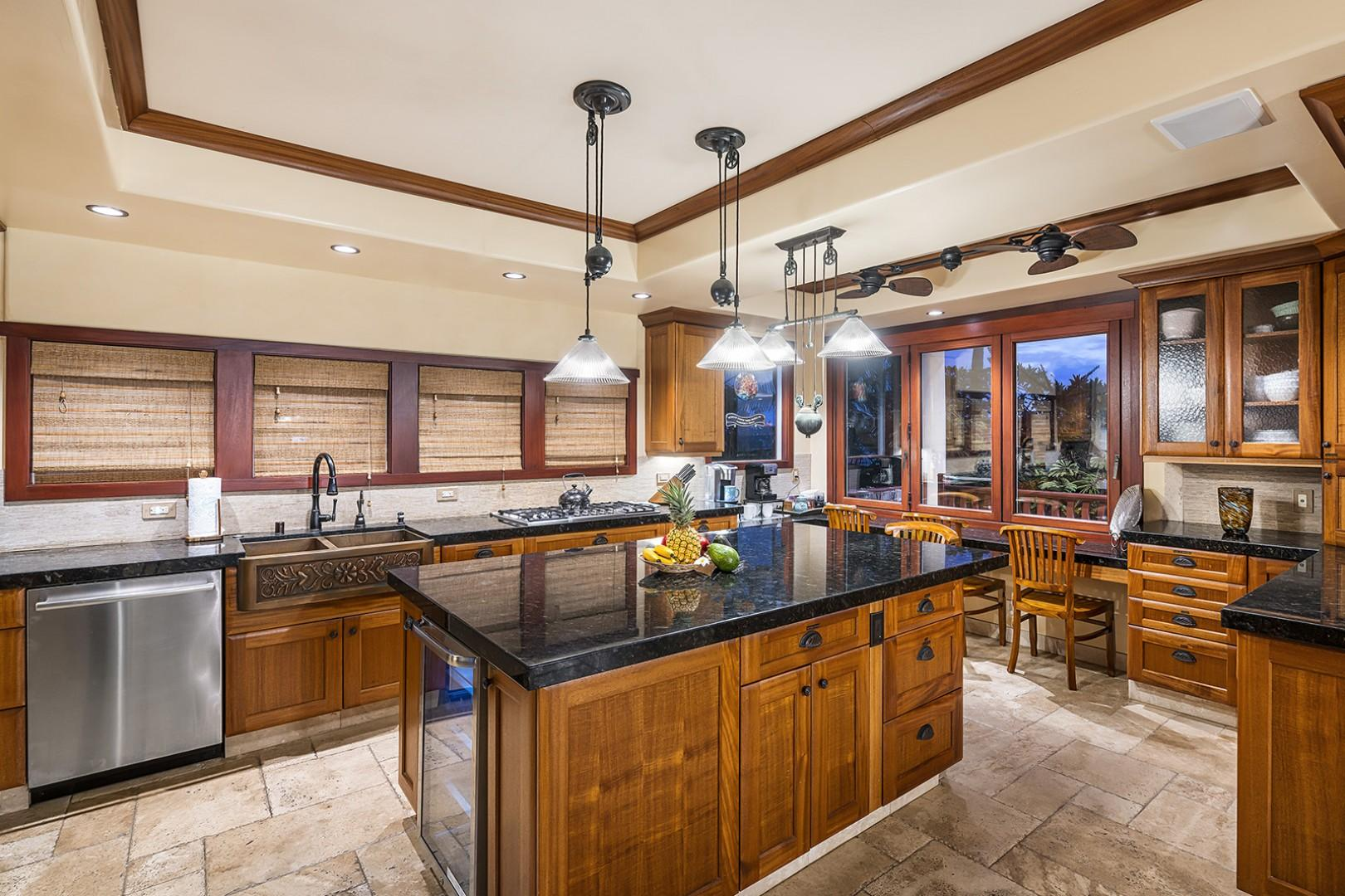 Gourmet kitchen with amazing ocean views!