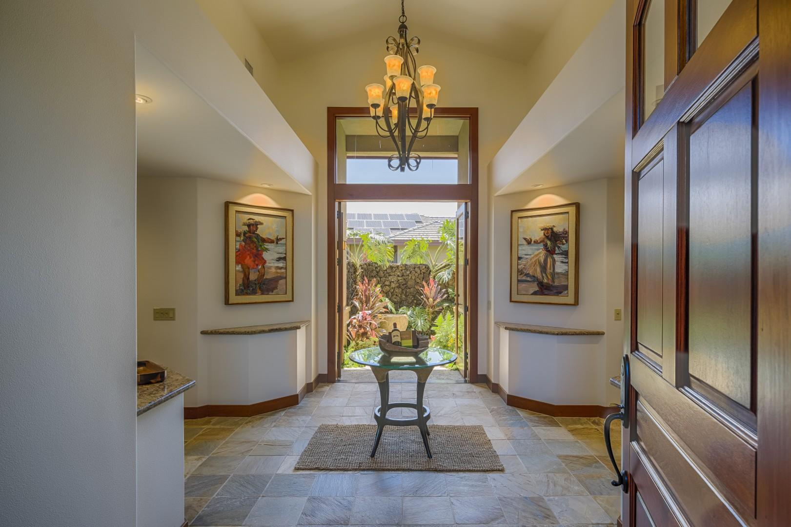 What an entry - enjoy the beautiful art in and around the home!