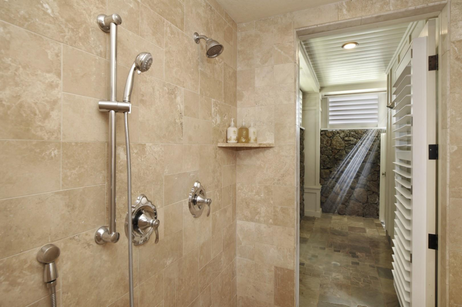 Master bath shower with outdoor shower access