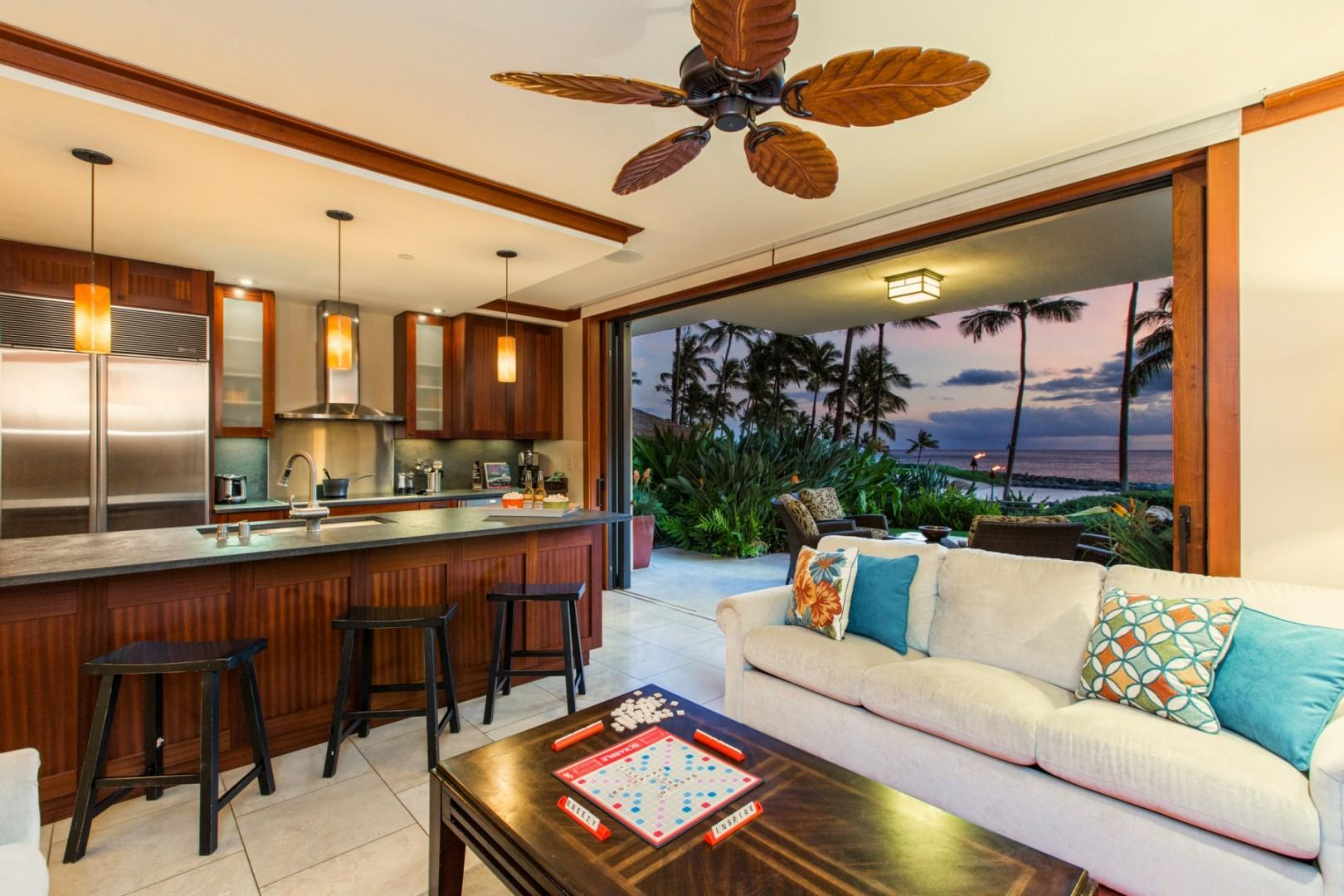 Enjoy ocean views from the comfort of the living area