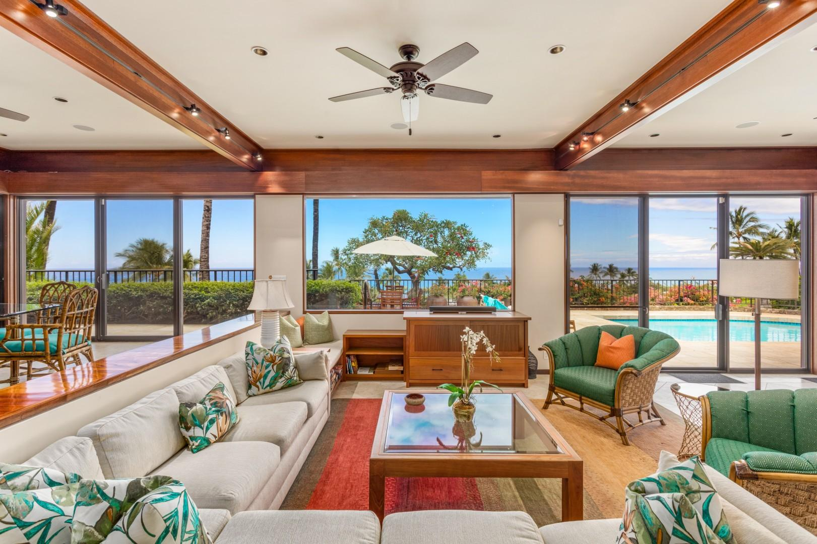 Bask in Ocean & Sunset Views from the Newly Redesigned Living Area. Sliding Glass Doors Open to Pool Deck & Lanai.