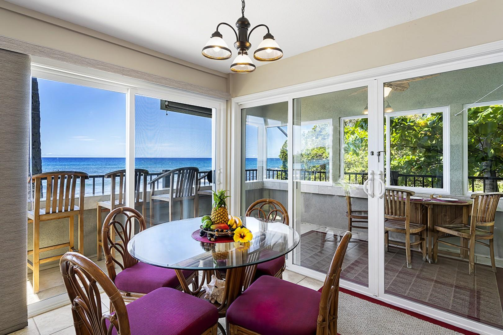 Indoor dining steps from the kitchen with ocean views!