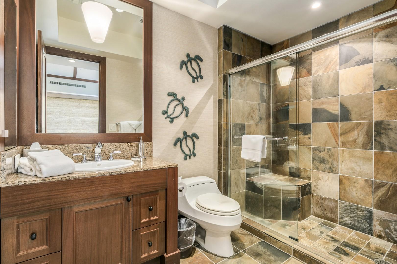 Second Bath with Spacious Tiled Walk-In Shower.
