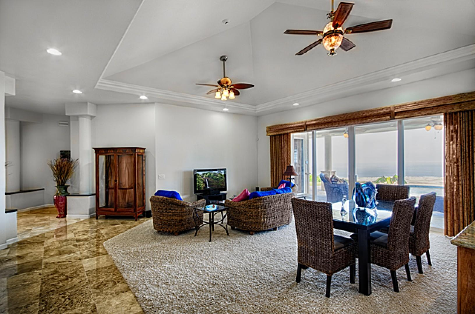 Exceptionally spacious living & dining room to share.