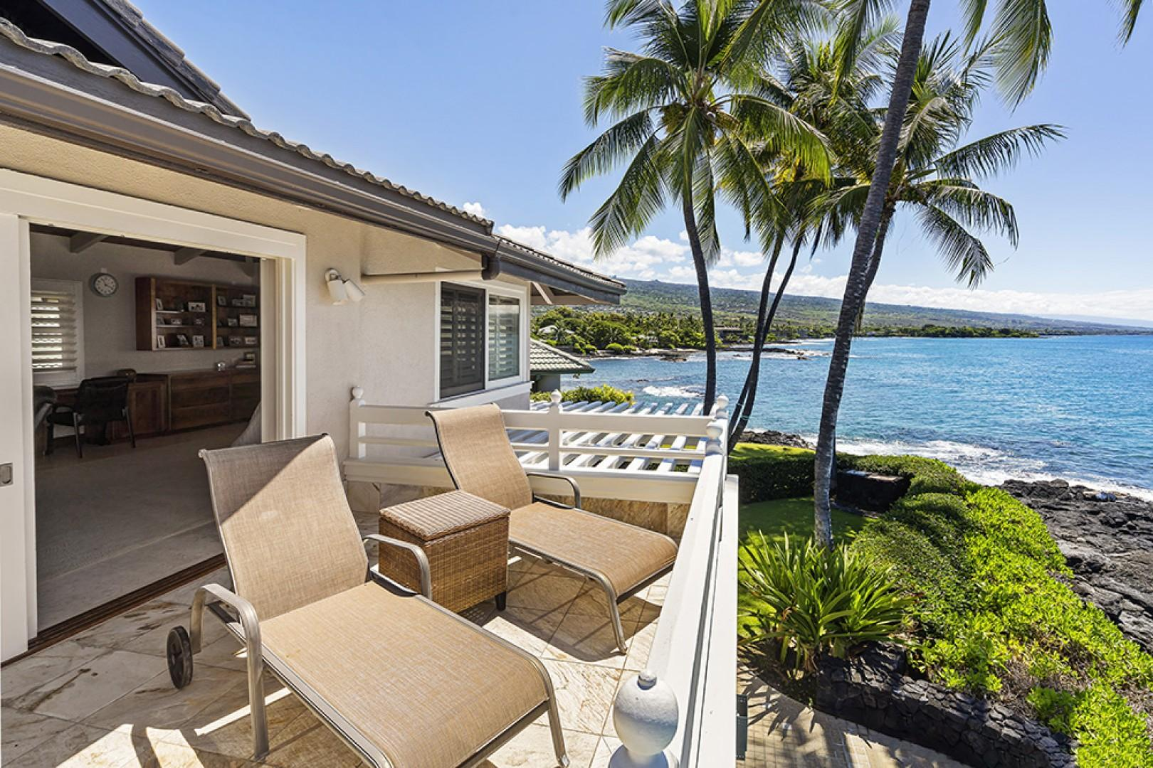Facing back into the Master bedroom from the Private Lanai showcasing the Kona shoreline