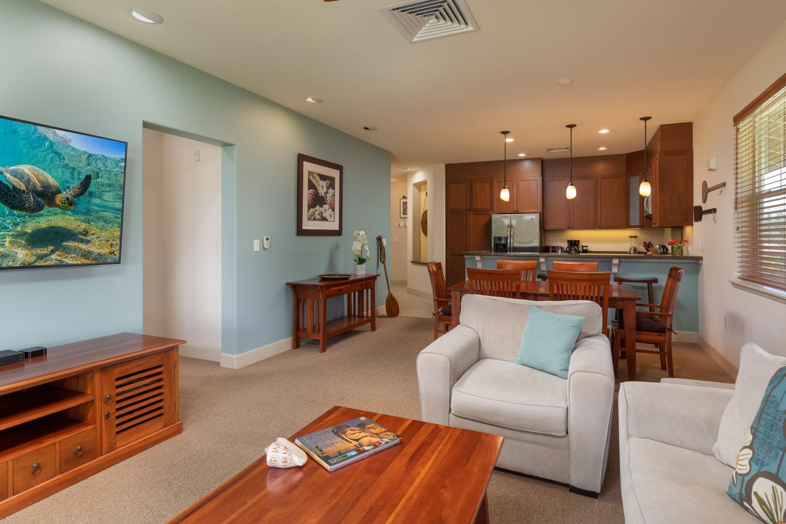 Comfy furniture to enjoy in the great room where the whole family can be together.