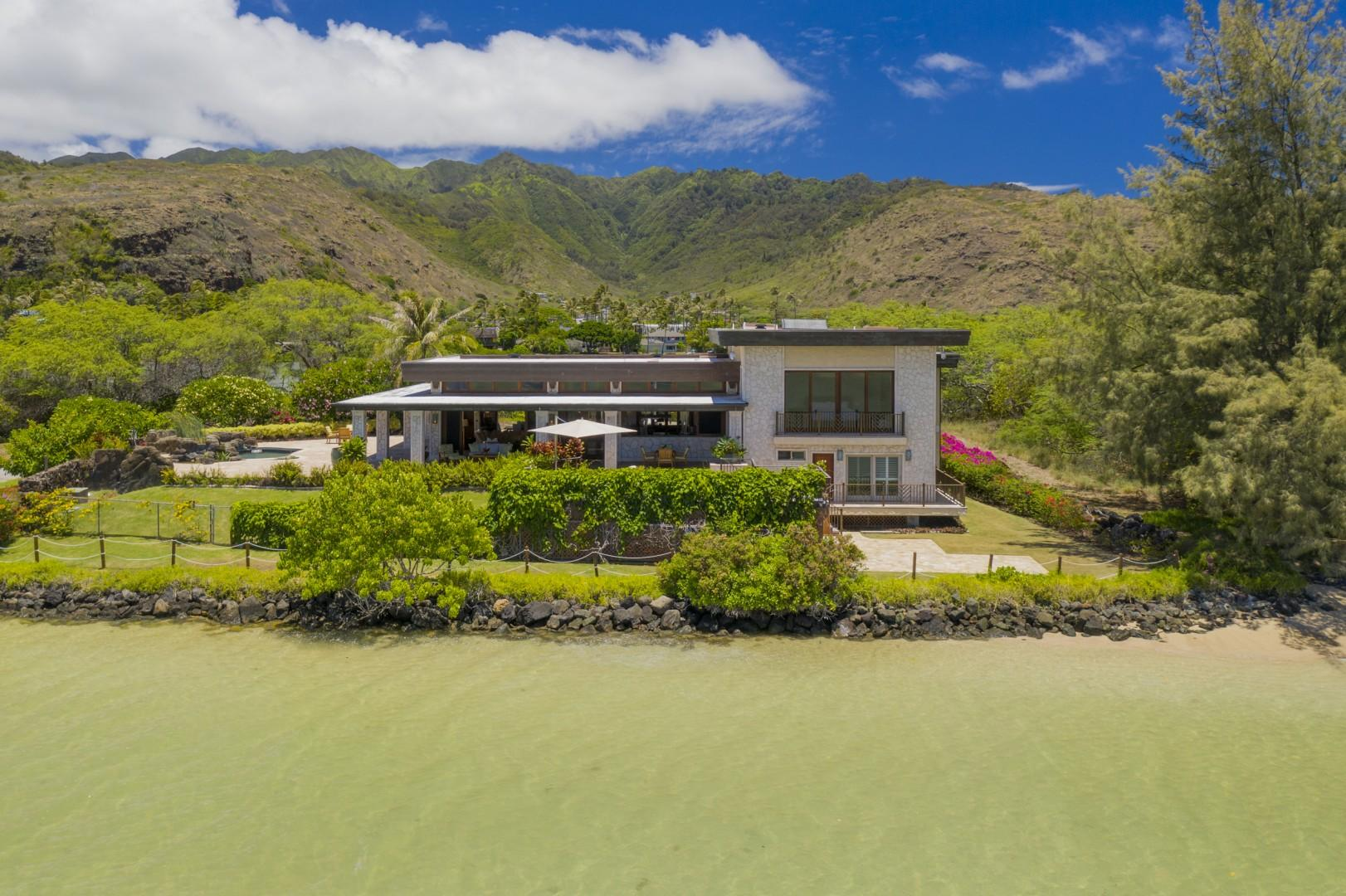 Aerial Beachside View of Paiko Lagoon Island Estate showing it's extreme privacy