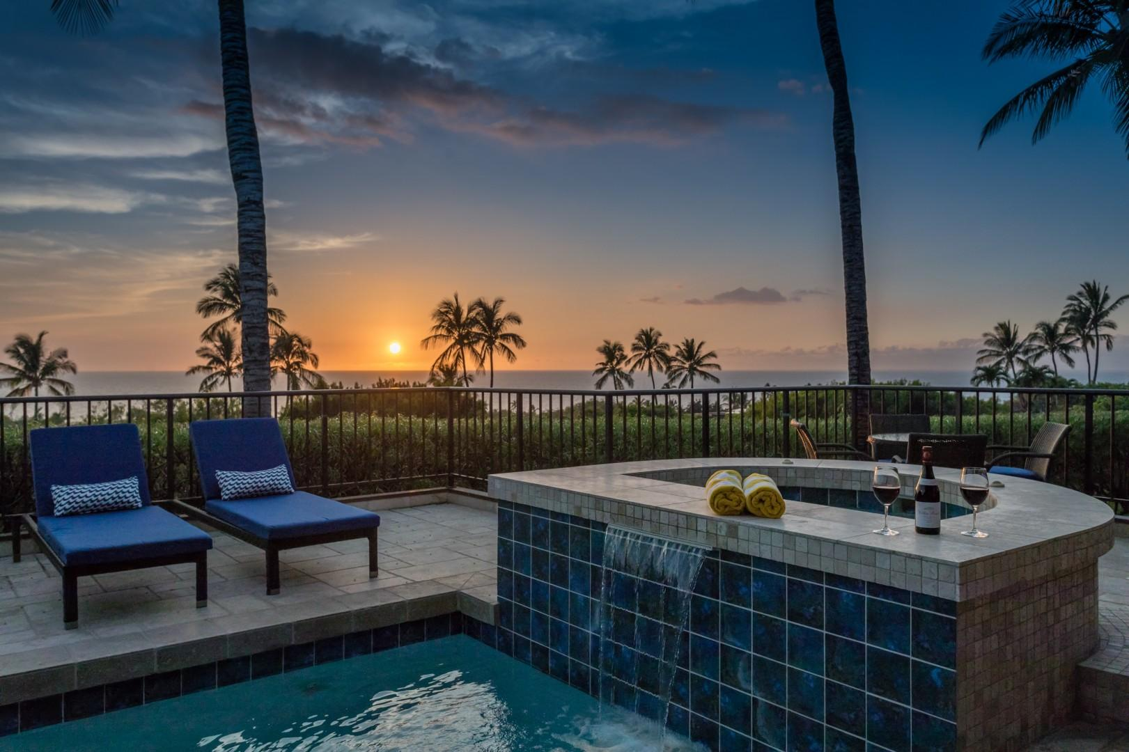Sunset and ocean views from waterfall jacuzzi.