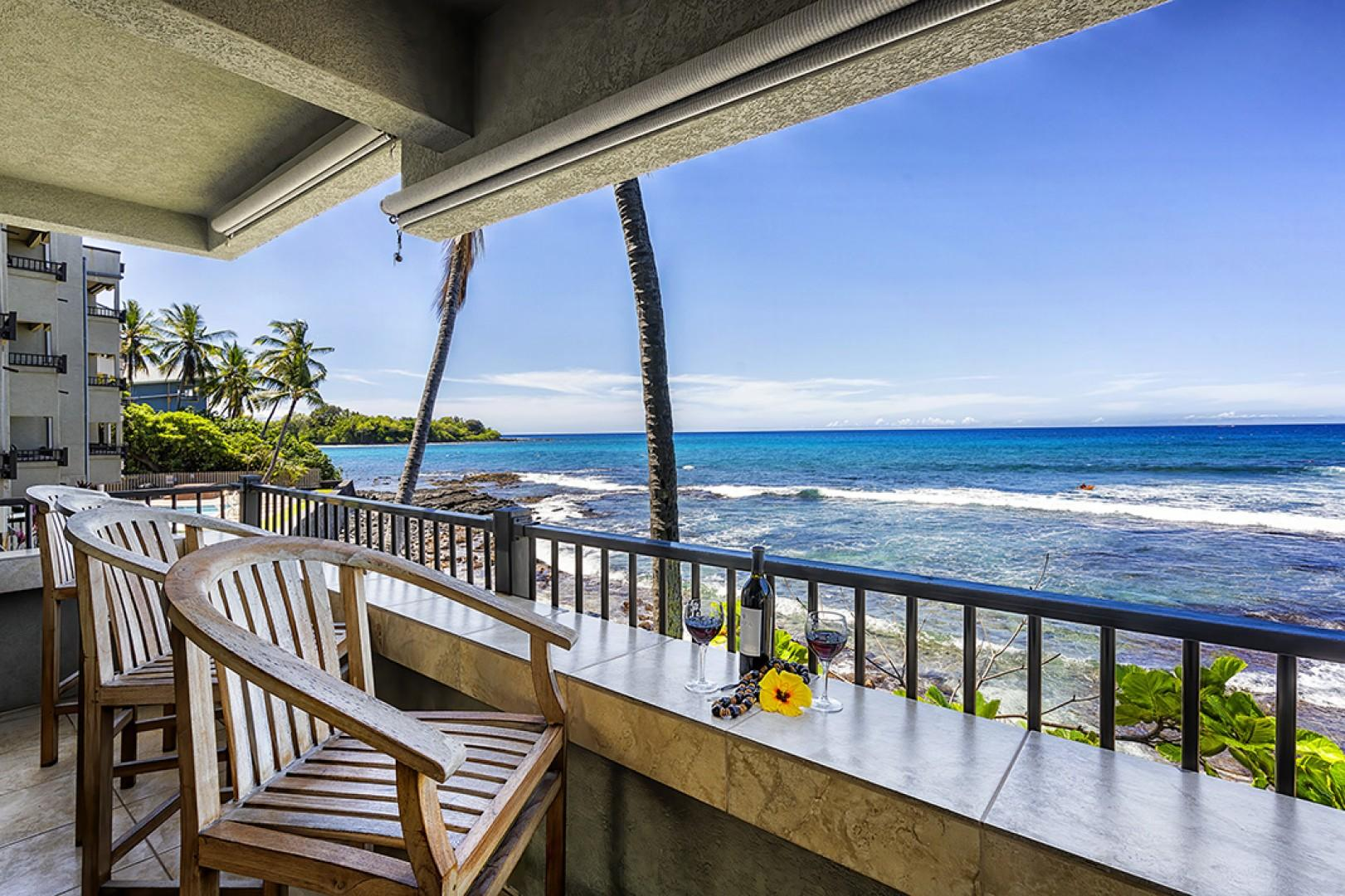 Relax on the Oceanfront Lanai with your favorite beverage!