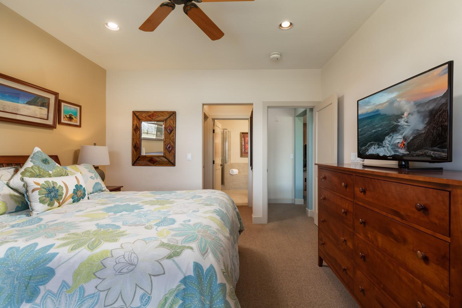 The suite offers a walk in closet and a large Smart TV.