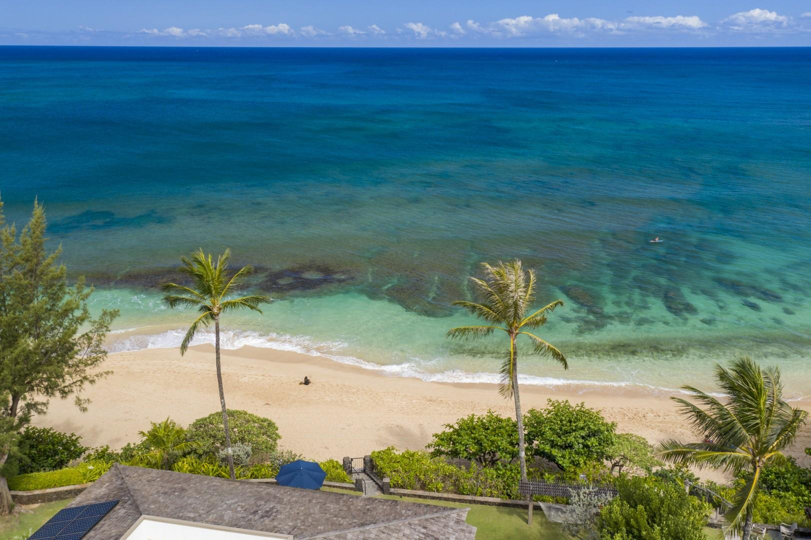 Gorgeous summer ocean lends to snorkeling and fishing the days away.