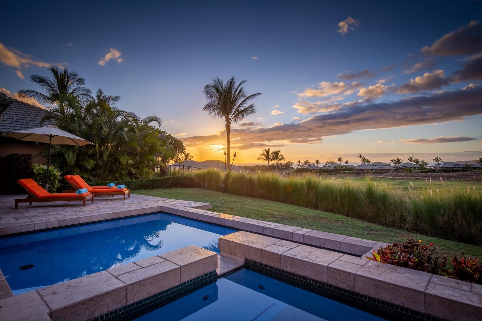 Elegant vacation residence showcasing Pacific Ocean, sunset, and Hapuna Golf Course views.