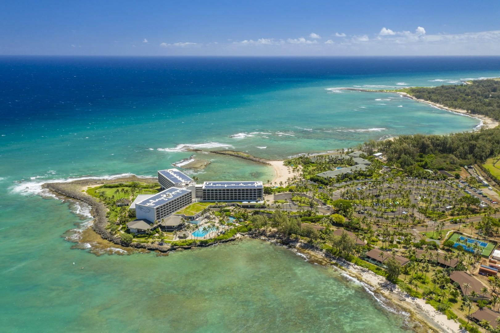 Aerial view of Turtle Bay Resort
