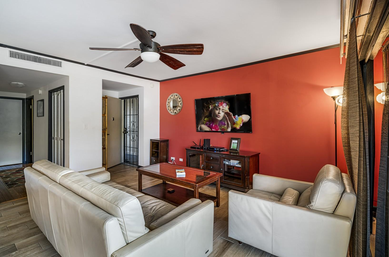 Comfortable couches with large flat screen smart TV!