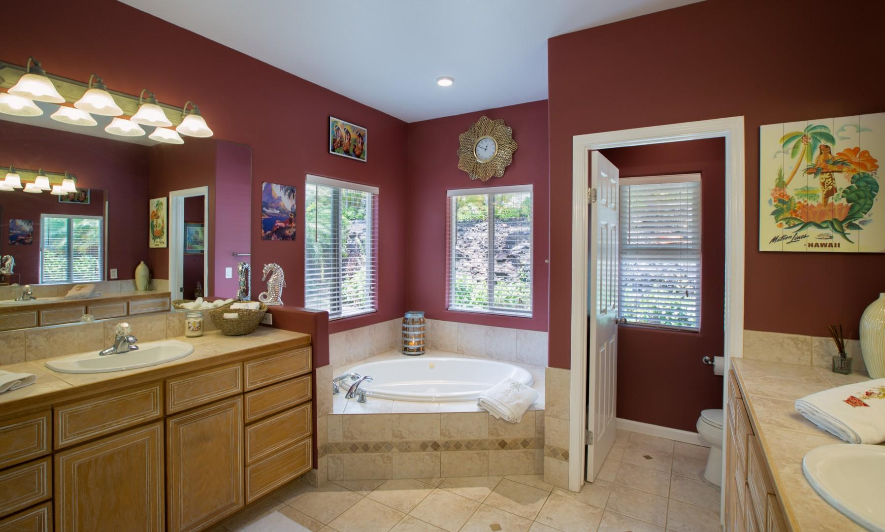 Master en suite with dual sinks, large walk-in shower, and jacuzzi tub.