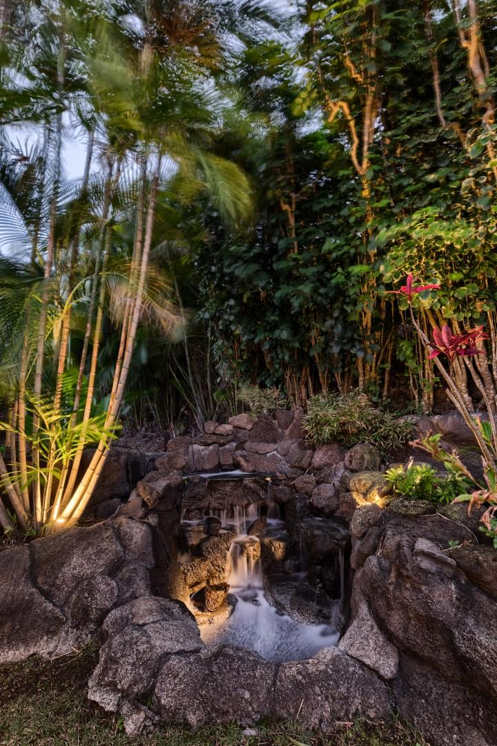The water feature in the back yard creates beautiful, relaxing background sounds.
