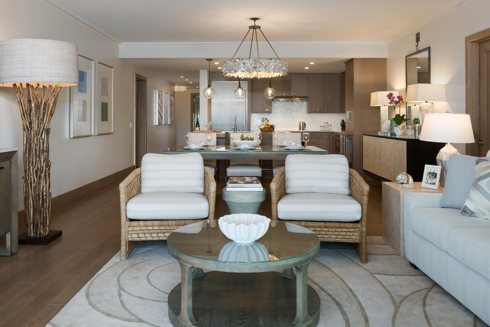 Open-concept living spaces with elegant furnishings allow for total comfort at Hokuala.