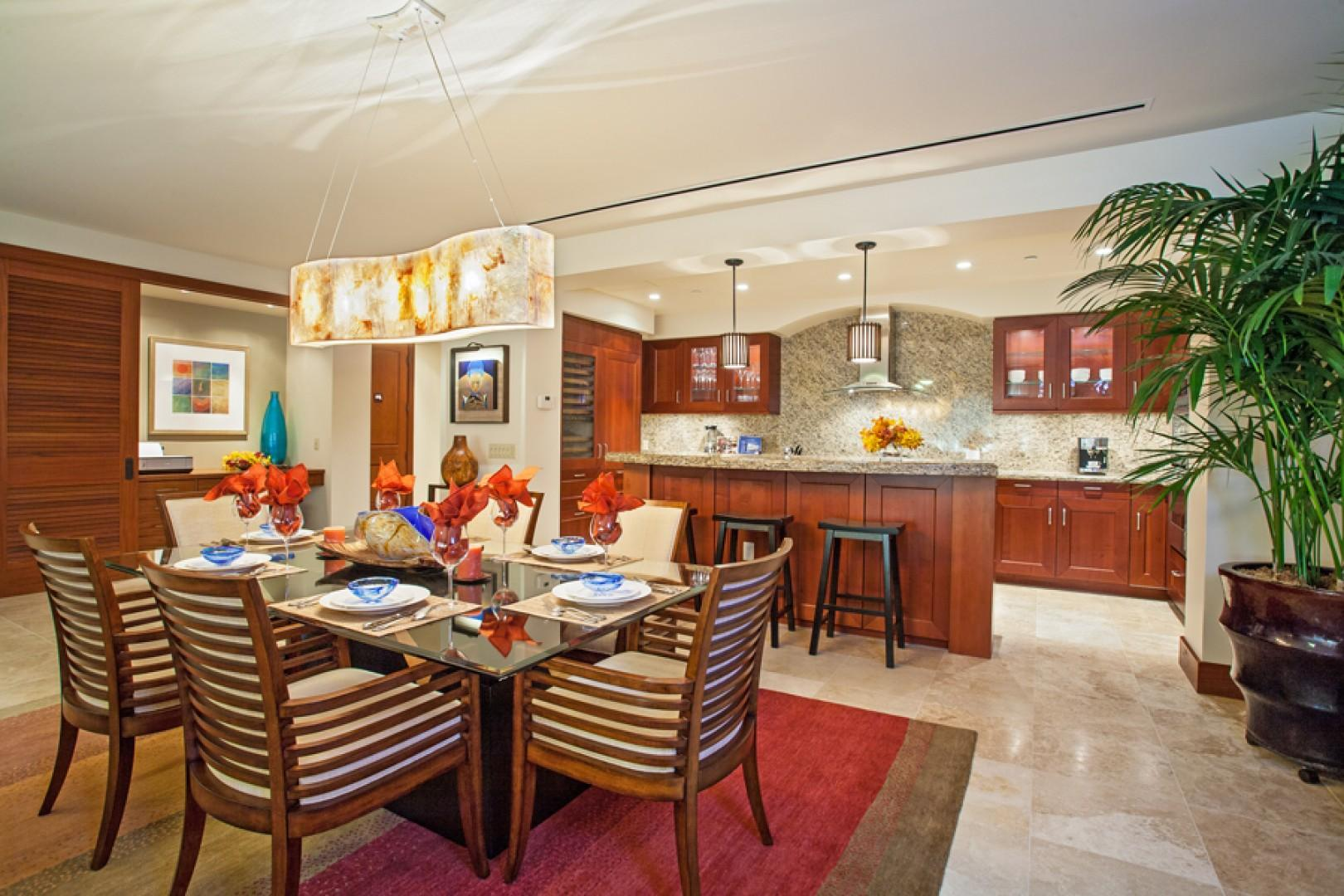 Sun Splash C301 Indoor Dining For Six with Three Bar Stools at the Kitchen Island