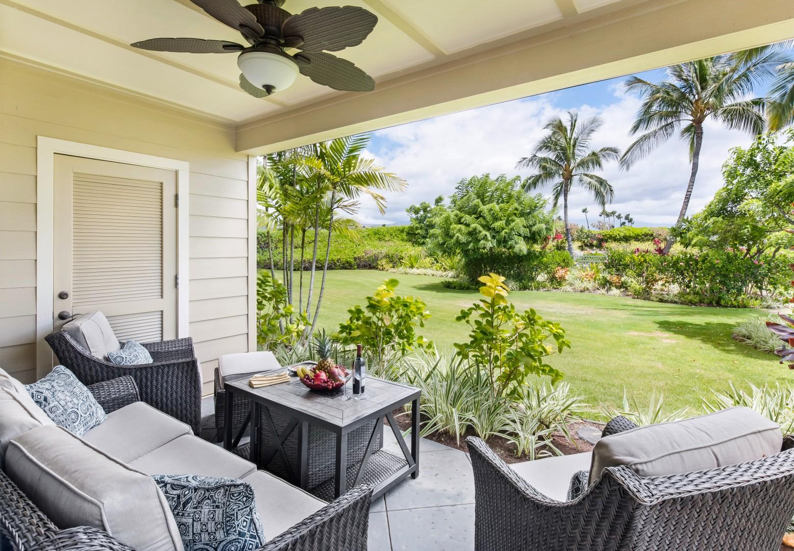 Lanai Off of Living Room Offers a Peaceful Place to Relax Just Steps Across the Soft Grass From the Pool