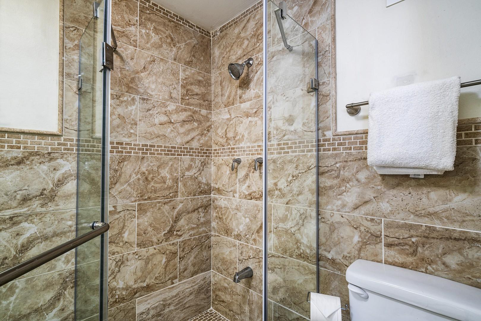 Upstairs walk-in shower.