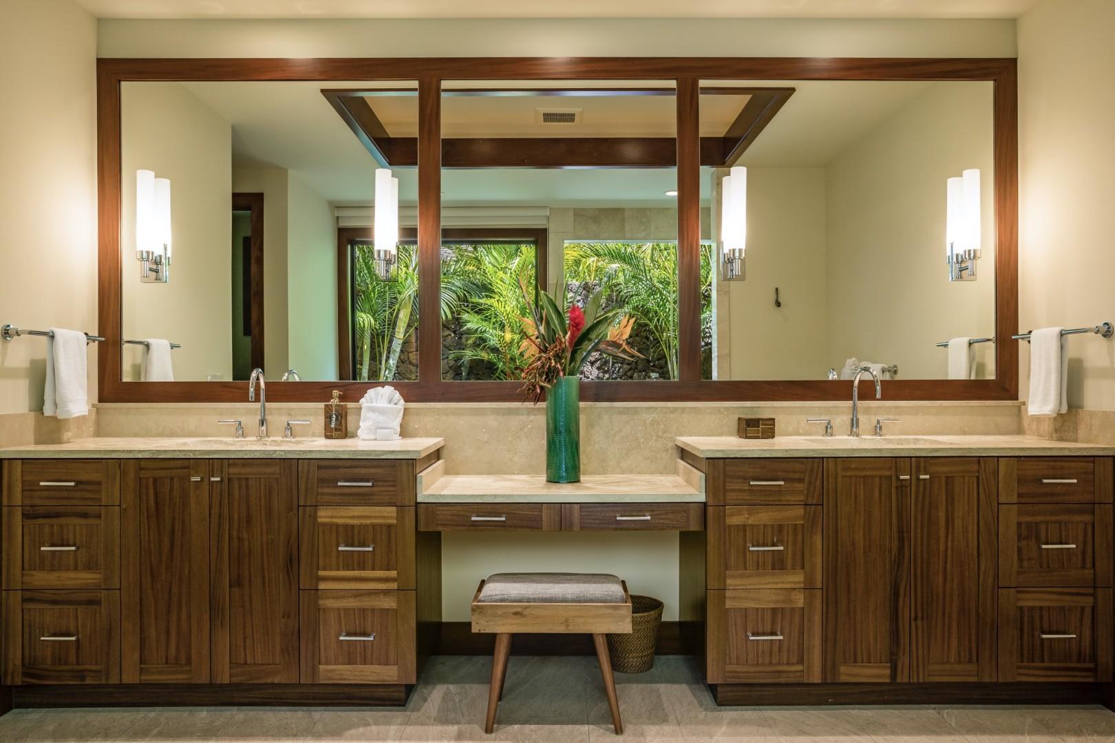 Capacious master bath featuring dual vanities.