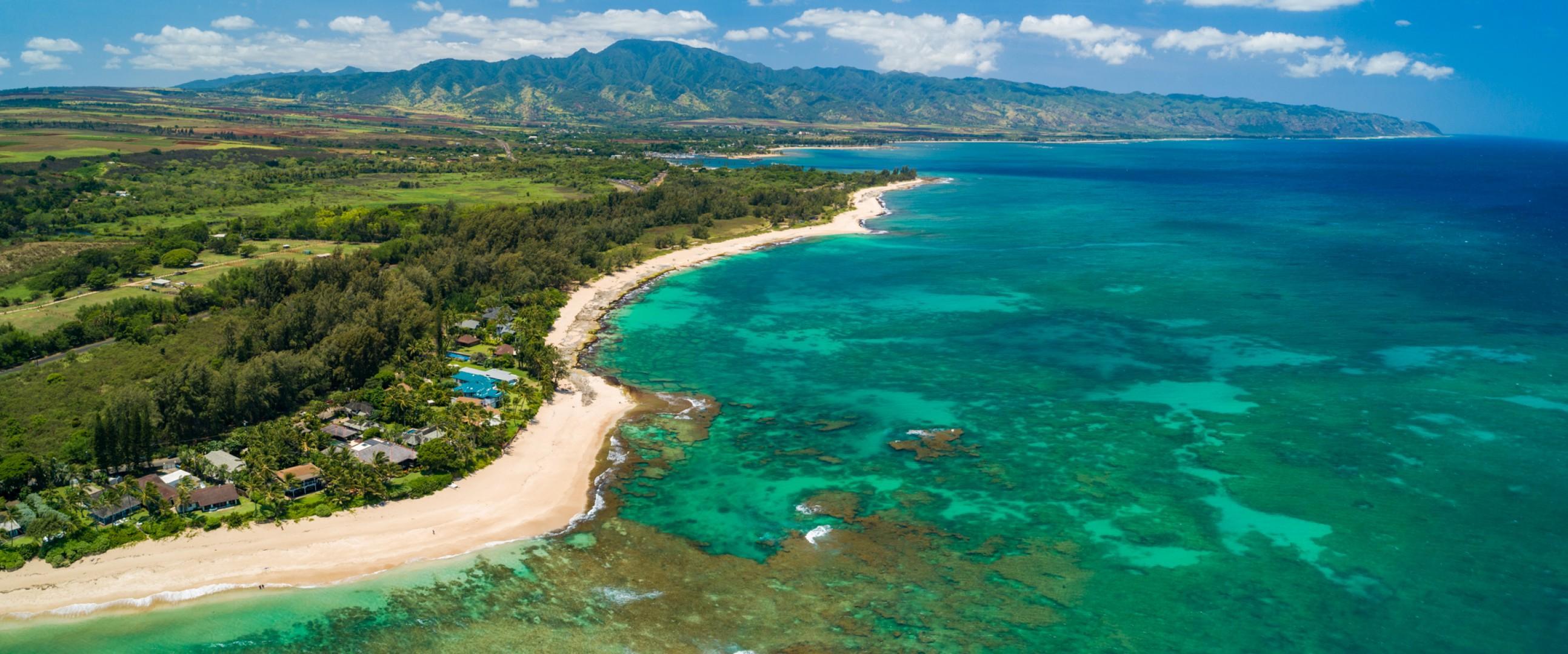 Aerial shot of Hale Komodo and Papailoa Beach